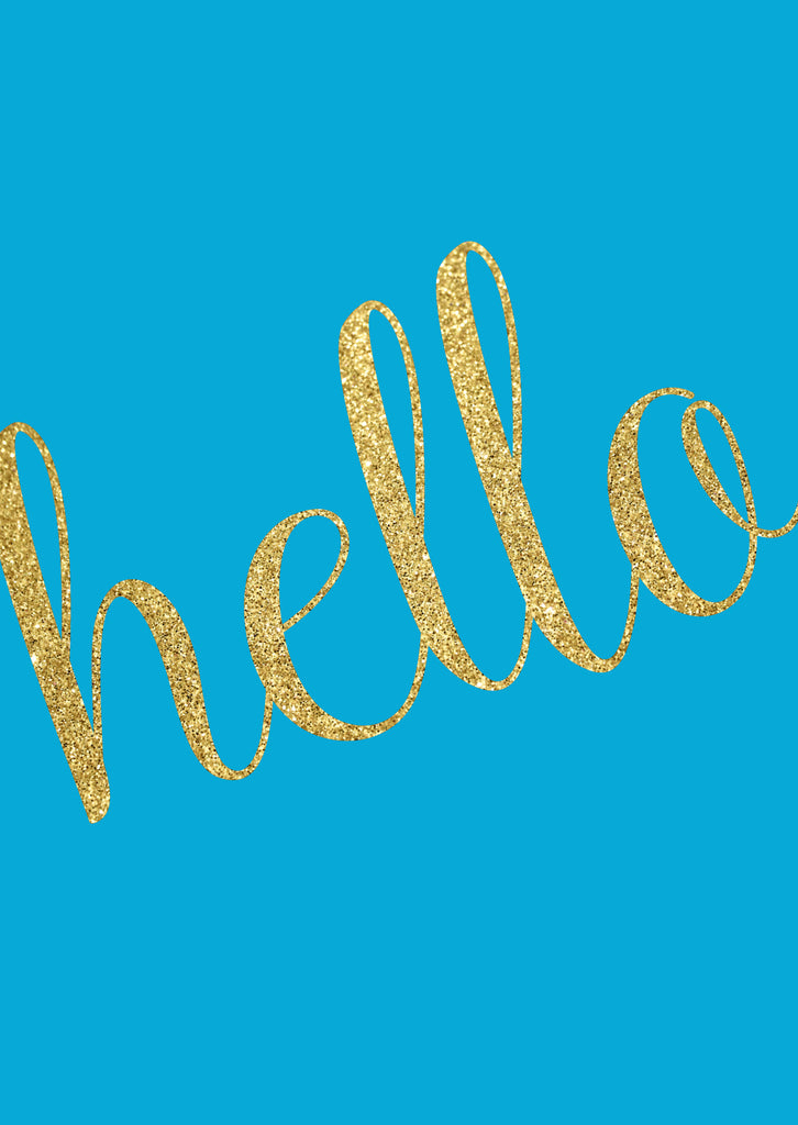 """hello' Greeting Card - turquoise & glitter"