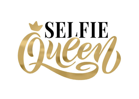 'Selfie Queen' Greeting Card - Black & Gold