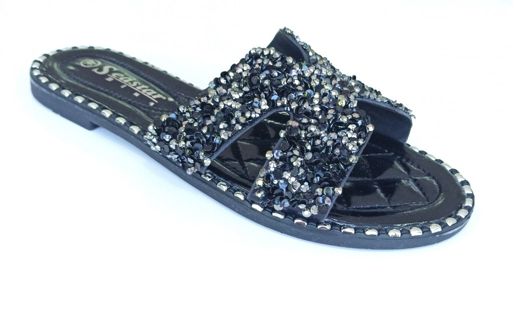 Cross Slides, Glitter Metallic - BLACK