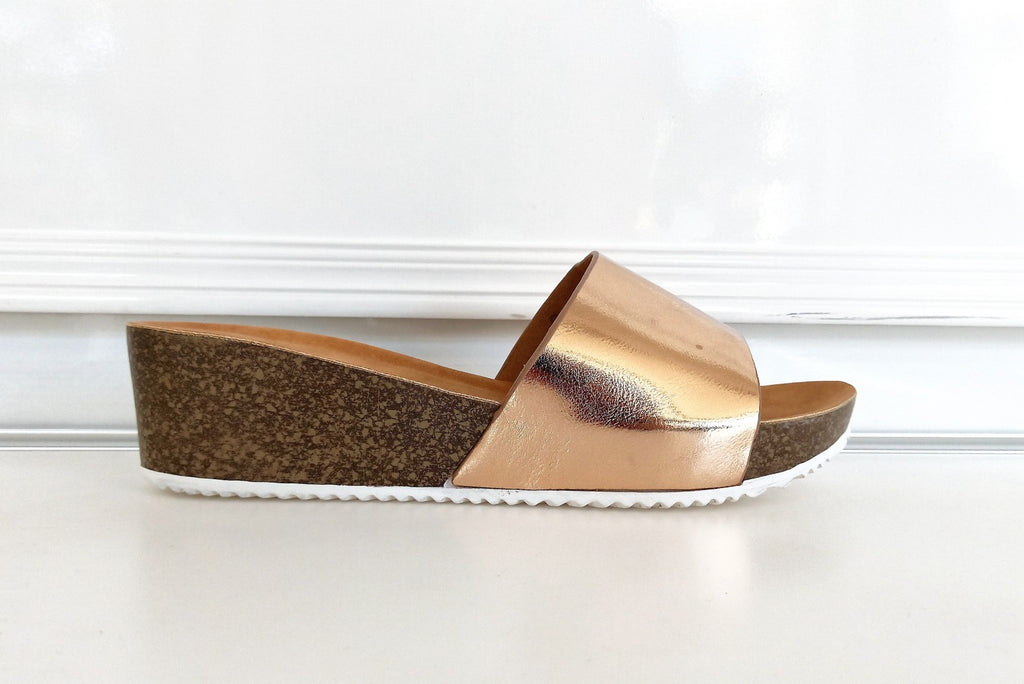 Metallic and Cork Effect Slides - CHAMPAGNE GOLD