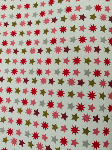 Multi Star Design Gift Wrap - Pink, Red Flat Gold