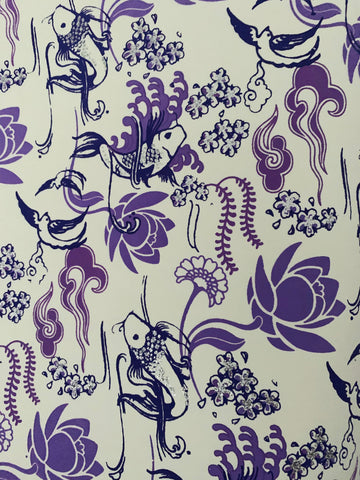 Hand finished Fish Design Gift Wrap - Lilac and Glitter