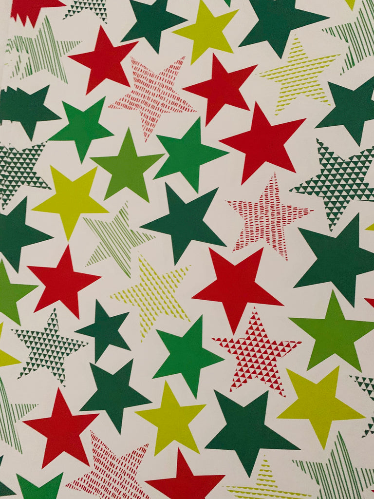 Big Star Gift Wrap - RED/GREEN/WHITE