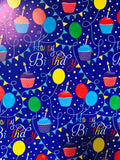 Happy Birthday Balloons Wrapping Paper - Multi with Blue Gloss reverse