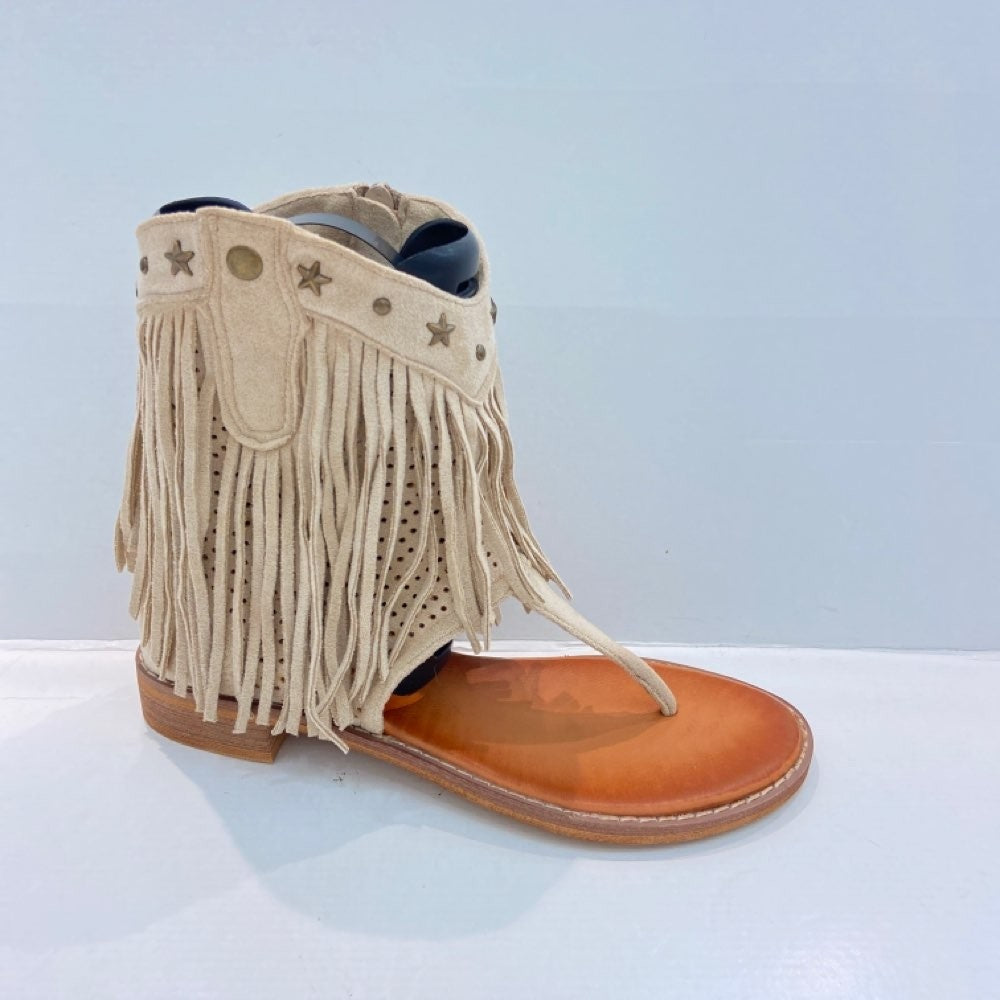 Fringe and Star  Thong Boots - BEIGE