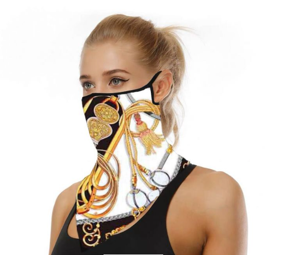 Gold/Navy Chain Face Mask