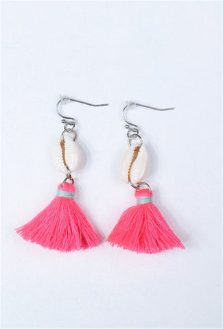 Shell and Tassel Earrings - FUCHSIA