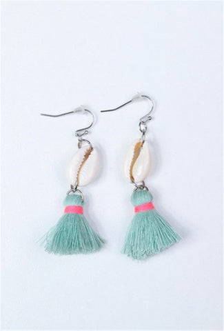 Shell and Tassel Earrings - AQUA