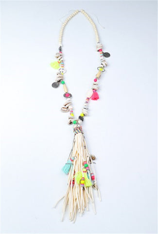 Shell, Beads and Tassel Necklace - ECRU MULTI
