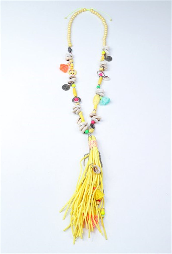 Shell, Beads and Tassel Necklace - YELLOW MULTI