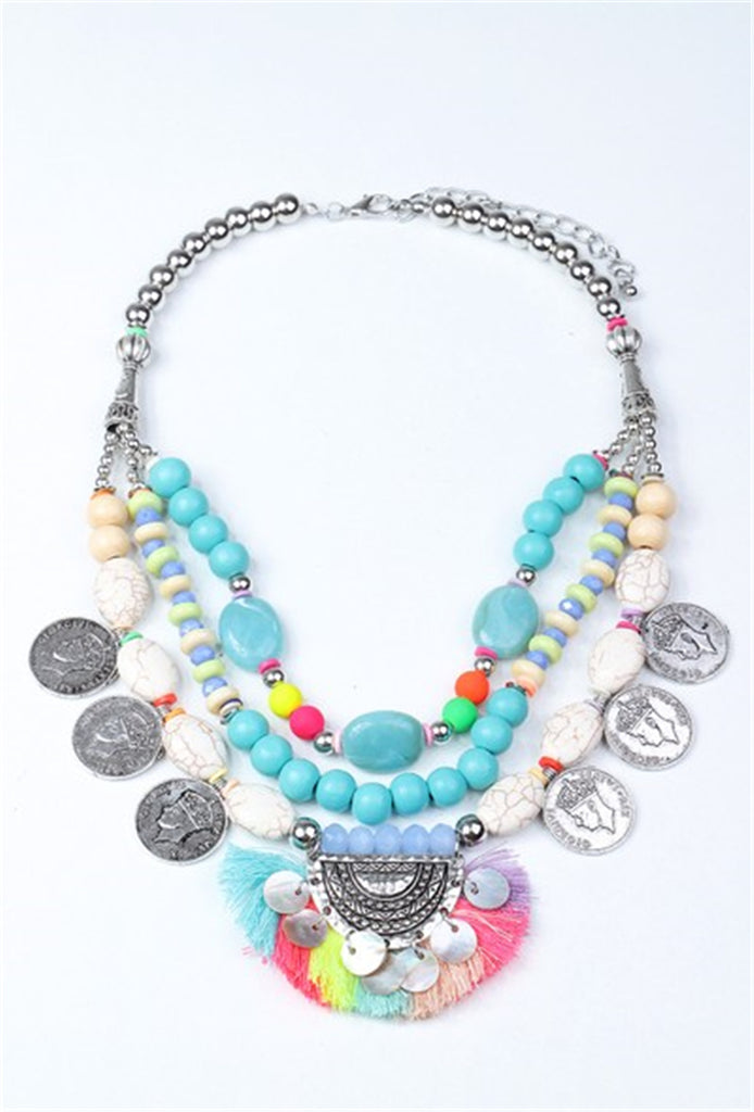 Shell, Charm and Tassel Layered Necklace - MULTI
