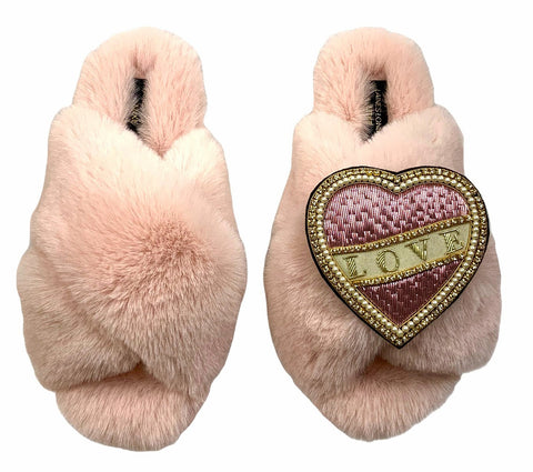 Luxe Fluffy Pink Slippers With Pink & Cream Love Brooch
