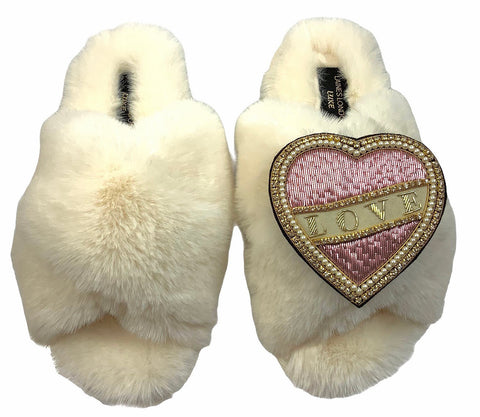 Luxe Fluffy Cream Slippers With Pink & Cream Love Brooch