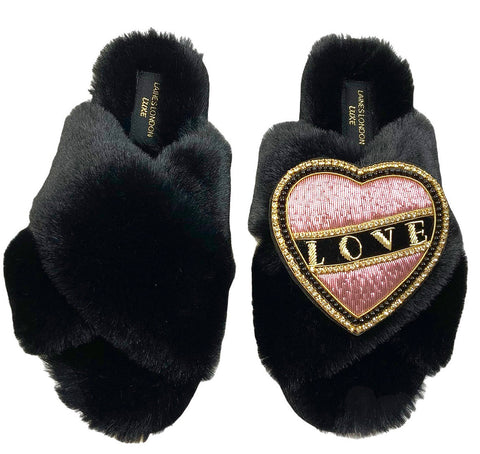 Luxe Fluffy Black Slippers With Pink & Black Love Brooch