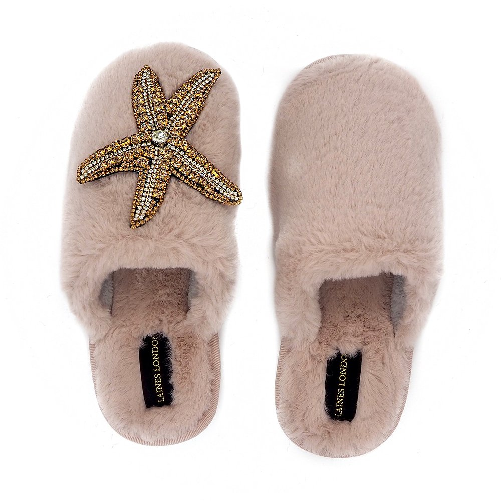 Closed Toe Fluffy Slippers with Pink Starfish, PINK - LAINES LONDON