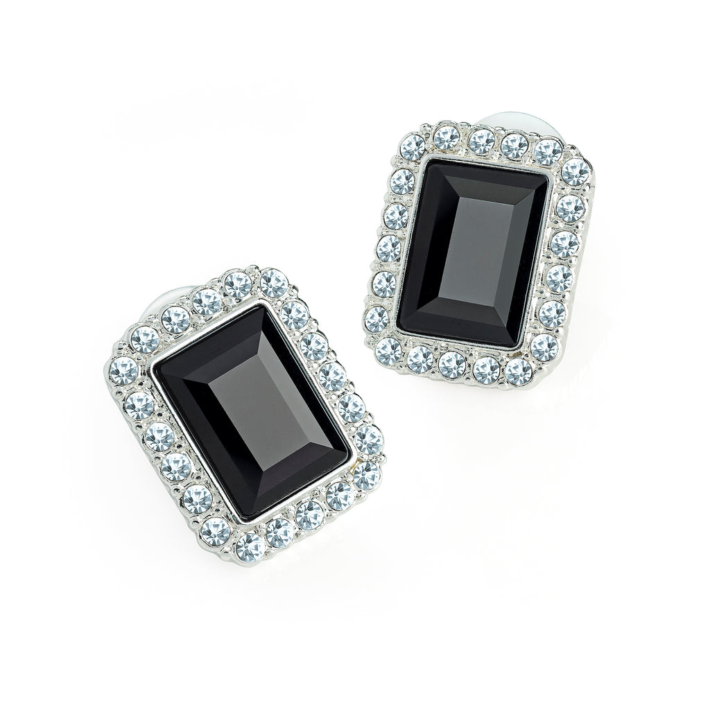 Diamante rectangle stud earrings - BLACK/SILVER