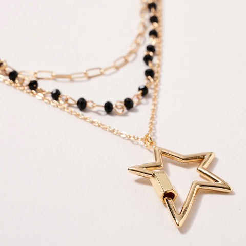 Star Screw Lock Charm Layered Necklace