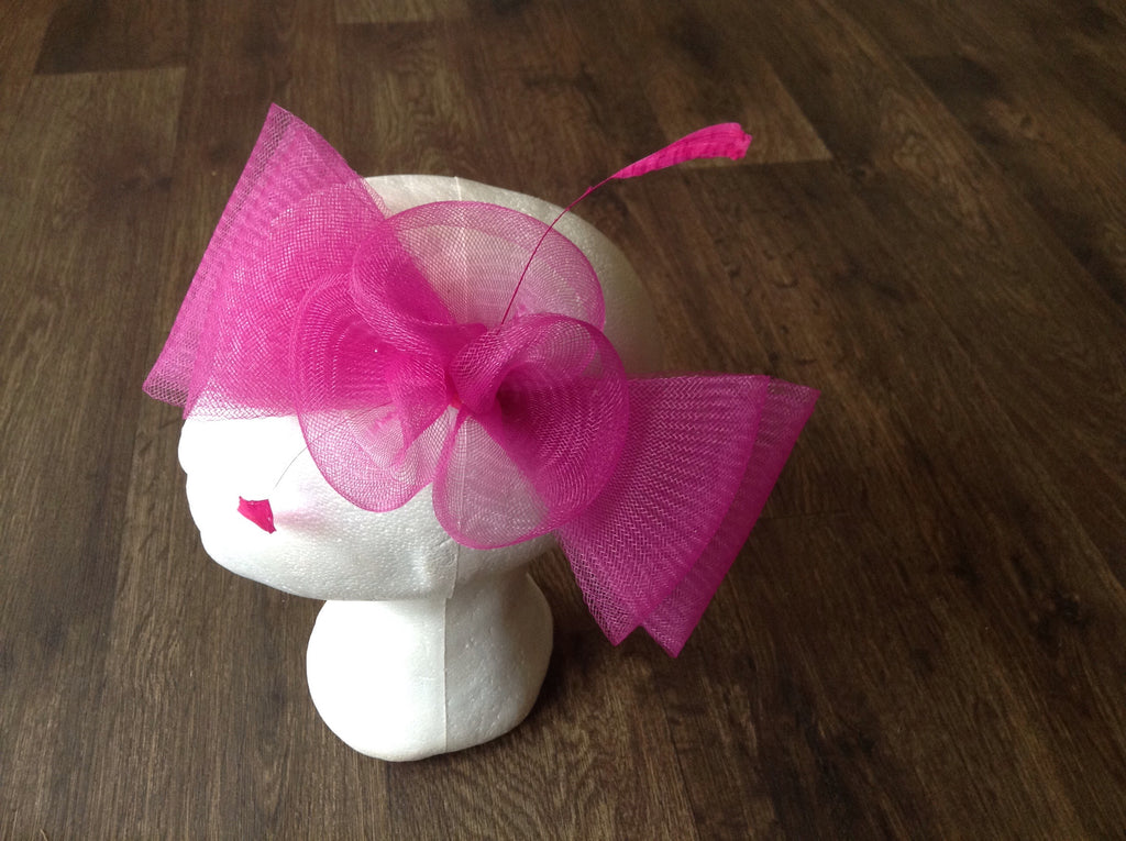 Mesh Bow and Flower Fascinator - BRIGHT PINK