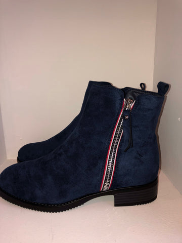 Navy Ankle Boot With Zip Detail