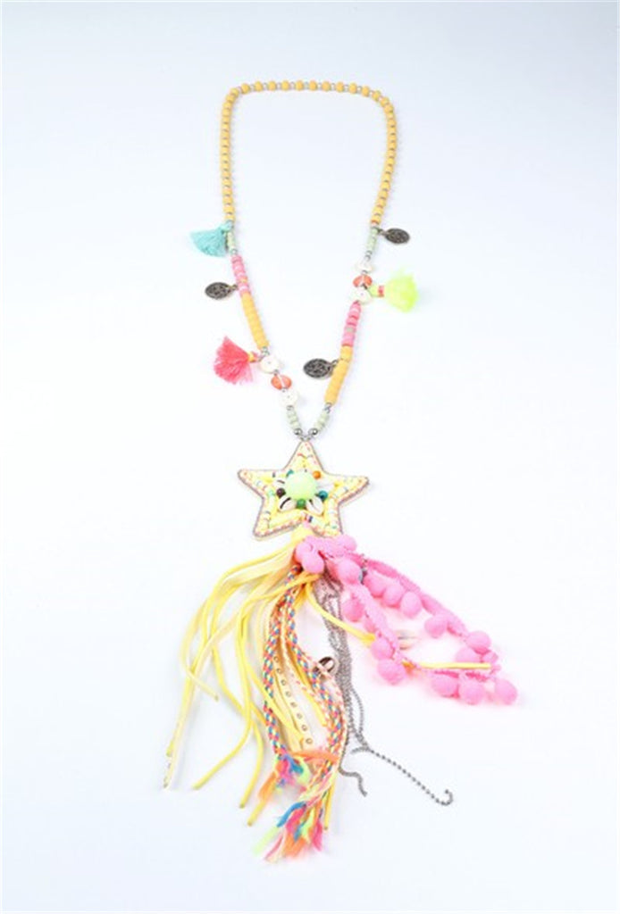 Star Shell Necklace - Pink/ Yellow