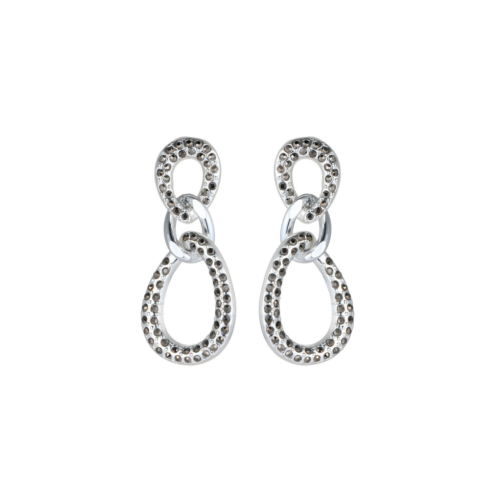 Oval three drop earrings