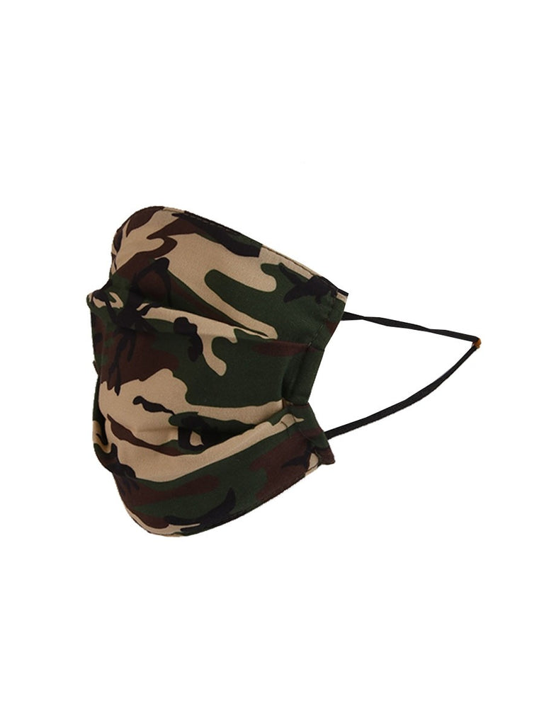 Camo Print Pleated Cotton Face Mask - Camoo