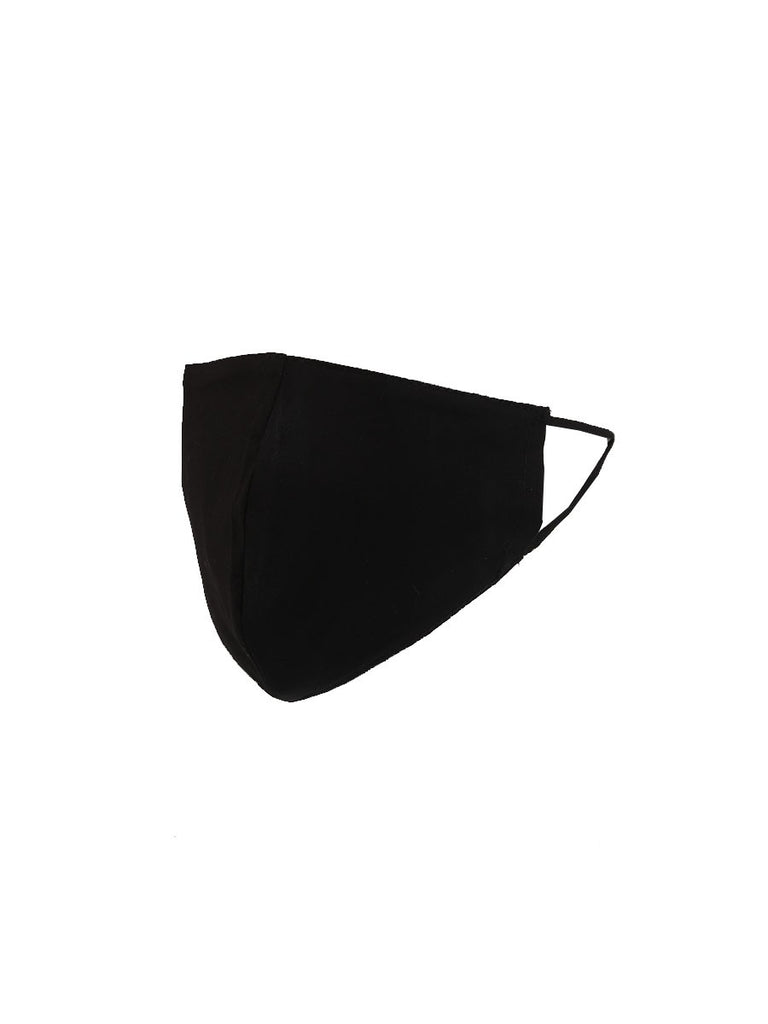 Plain Cotton Face Mask - BLACK