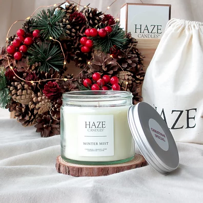 Christmas scented candle jar - Winter mist