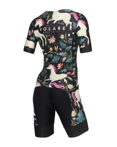 Volare Mens BLK Palms Sleeved Aero Tri Suit
