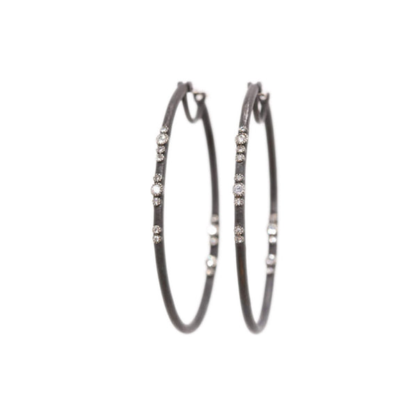 Blackened Silver Diamond Eternity Hoop