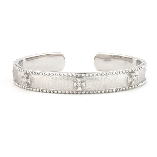 Silver Narrow Beaded Cuff