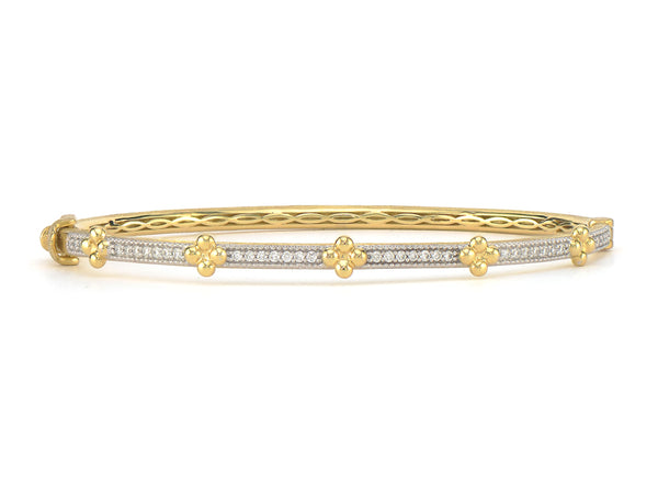 Beaded Quad Diamond Bangle