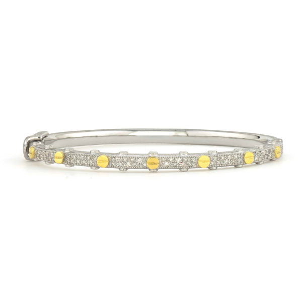 Mixed Metal Diamond Bangle