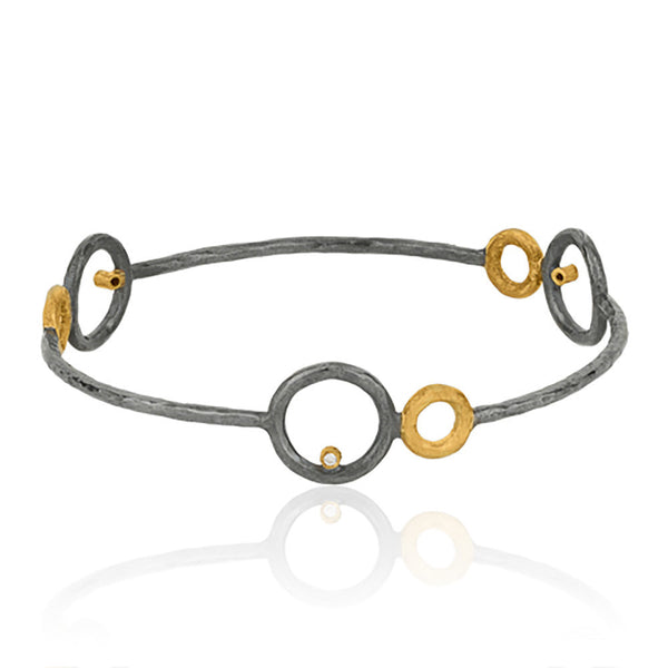 Three Gold and Silver Circle Bracelet