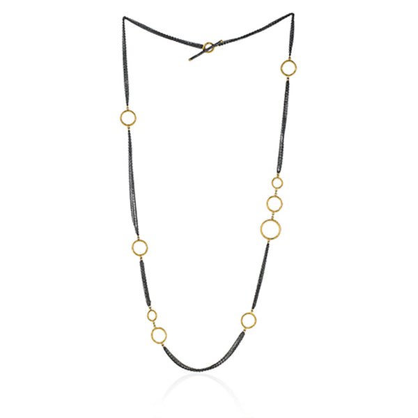 Gold and Blackened Silver Multi-chain Necklace