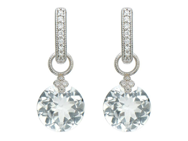 White Topaz Round Earring Charms