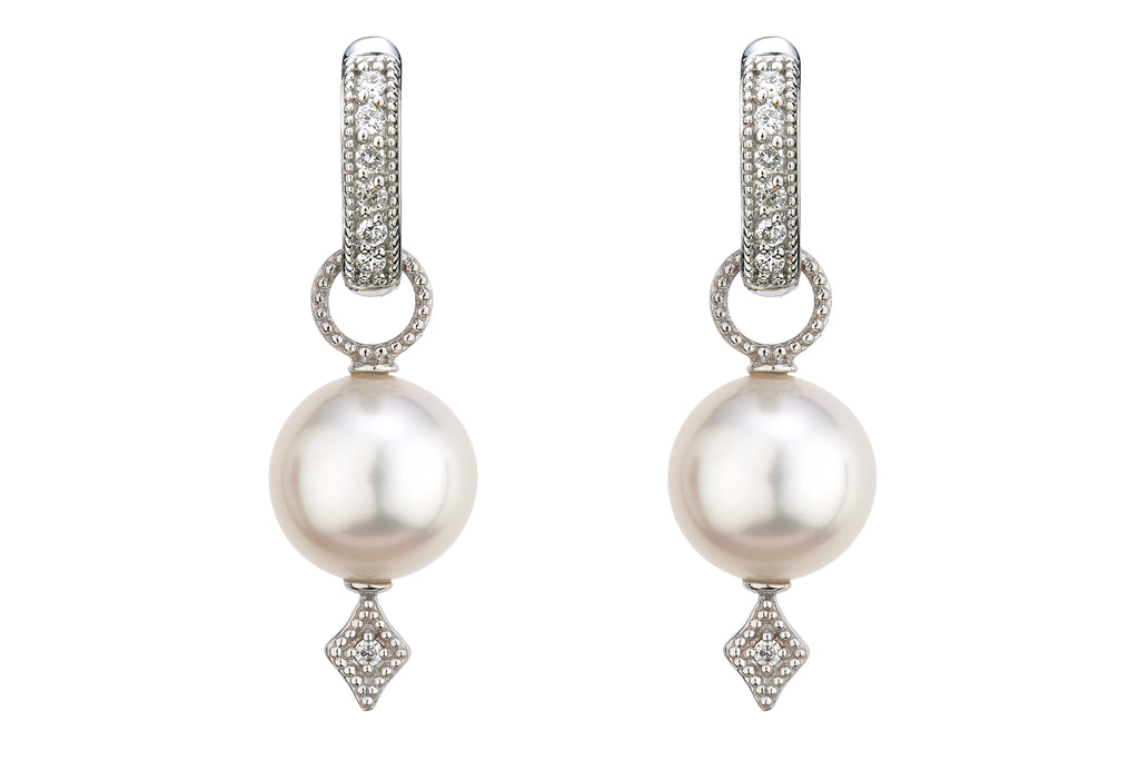 White Gold Pearl Charms