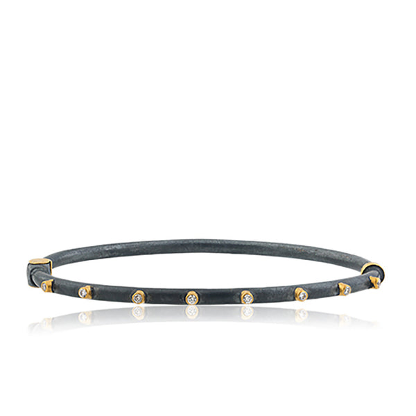 Gold And Blackened Silver Diamond Bracelet