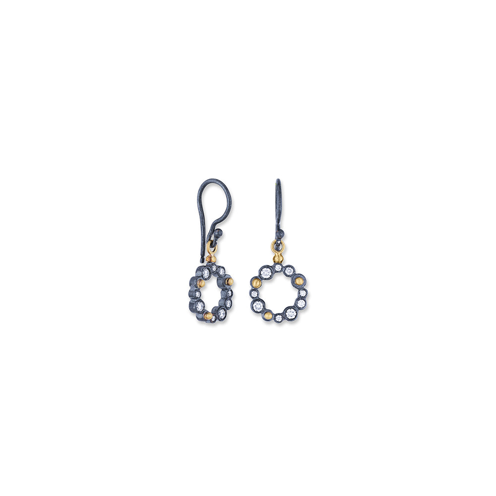 Round Drop Earrings With Diamonds