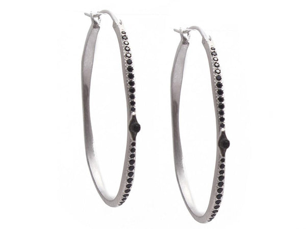 Diamond Side Hoop Earrings