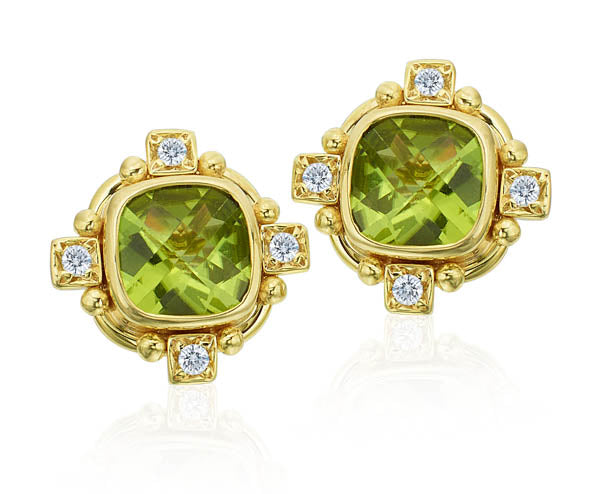 Faceted Peridot Earring