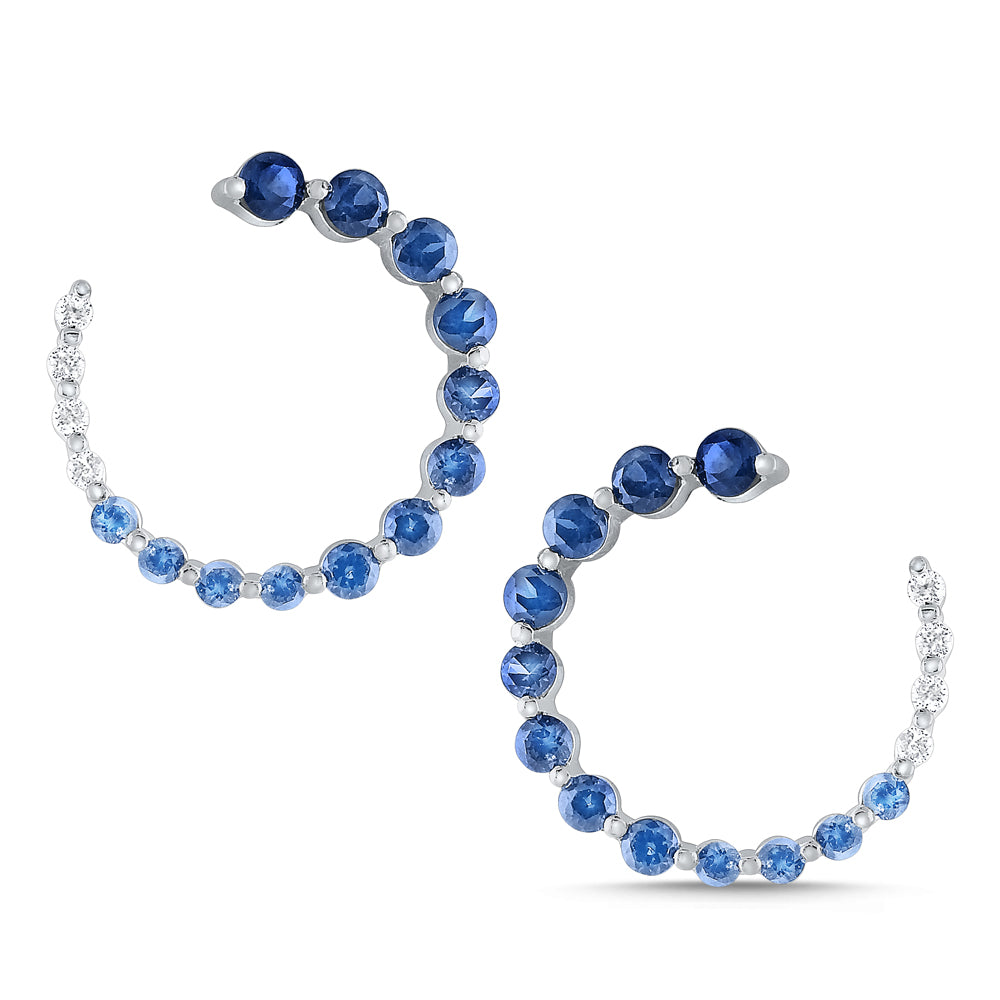 Diamond and Sapphire Arc Earrings