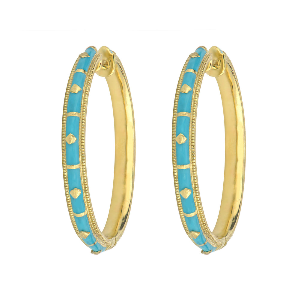 Turquoise Ceramic Hoop Earrings