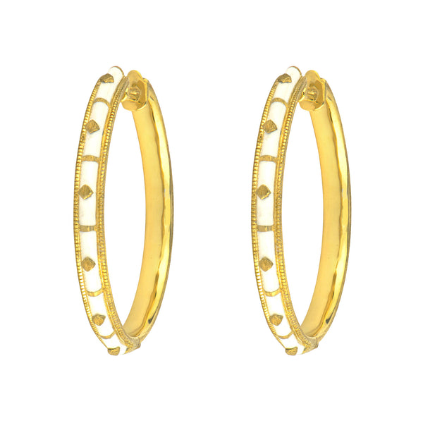 White Ceramic Hoop Earrings