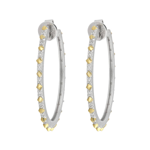 Narrow Mixed Metal Hoops