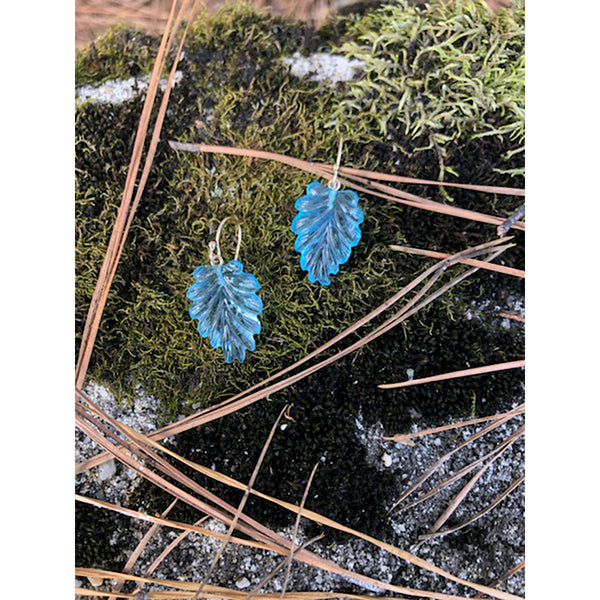 Carved Blue Topaz Leaf Earrings