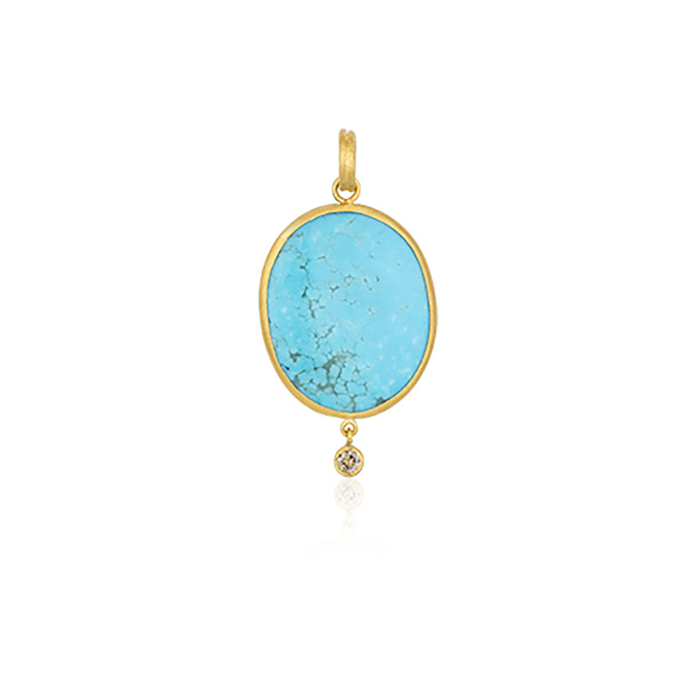 Turquoise and Gold Diamond Pendant