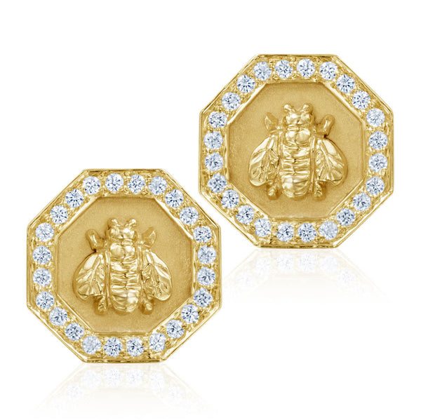 Octagonal Bee Earrings