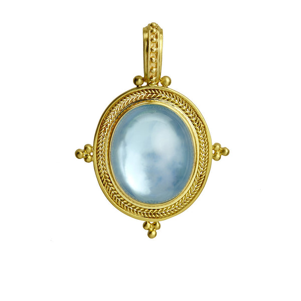 Blue Topaz Pendant Set in 14K Yellow Gold