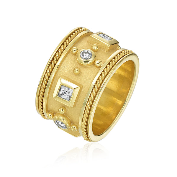 Wide Band with Round and Square Diamonds
